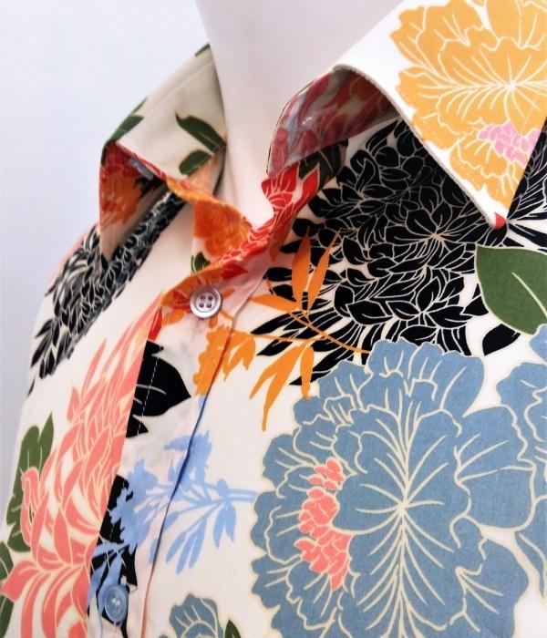 Camicia da tango, swing e vintage in puro cotone di alta qualità LINEA SARTORIALE FIORI PASTELLO di ViolaClandestina - particolare collo