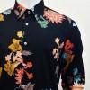 Camicia per il tango, swin e vintage in puro cotone di alta qualità LINEA SARTORIALE FIORE NERO di ViolaClandestina- particolare collo